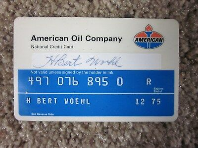 Vintage 1975 American Oil Company - Credit Card - Service Gas Station Plastic