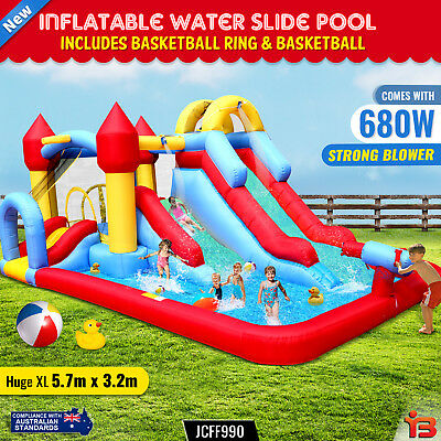 Inflatable Water Slide Jumping Castle Pool Bouncer Trampoline Kids Splash Toy A4