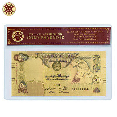 WR United Arab Emirates 500 Dirhams 24K Gold Colored Banknote Collectibles Gifts