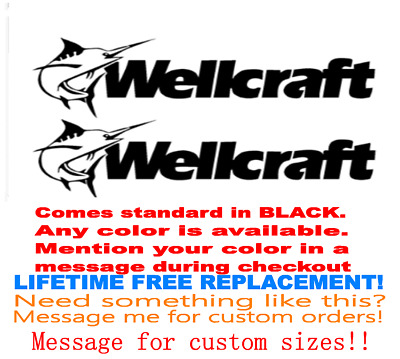 """Pair Of 8""""x28"""" Wellcraft Boat Hull Decals. Marine Grade. Your Color Choice 169"""