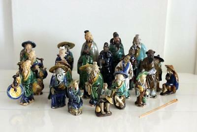 LOT of 24 Vintage 1930s and Antique Asian Chinese Bonsai MudMen Figures