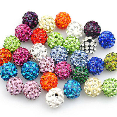 20PCS Disco Ball Spacer Beads 8mm 10mm Czech Crystal Rhinestones Pave Clay Round
