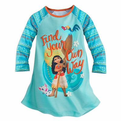 Disney Girls Moana Nightgown Pajamas NWT Blue LS High Quality $4/ 20% Off size 4