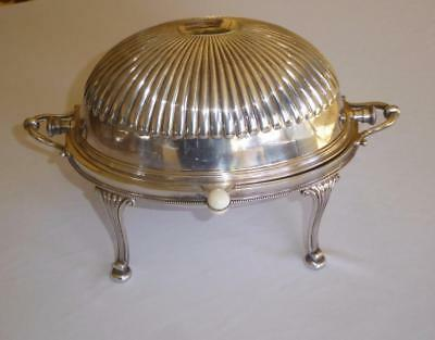Antique Hutton & Sons Silver Plate  Warming Chafing Dish Roll Dome Lid W Inserts