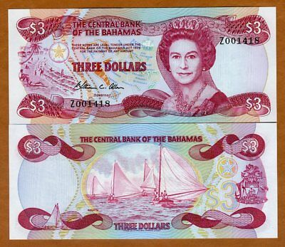 Bahamas, 3 dollars, L. 1974 (1984), P-44, QEII, UNC > Z-Replacement