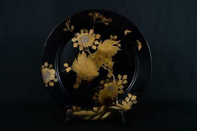 J7157: Japanese Wooden Lacquer ware BIG ORNAMENTAL PLATE/Dish