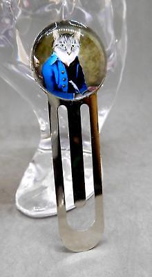 Bookmark, Slide Style; Victorian Cat In Blue Coat With Feather Quill - 01195