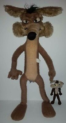 "Vintage 42"" Wile E Coyote Large Plush Stuffed Warner Bros. 1971 with 10"" mini-me"