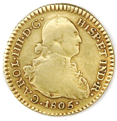 Colonial Gold coin Popayan 1 escudo bust, Charles IIII 1805 JT #4020