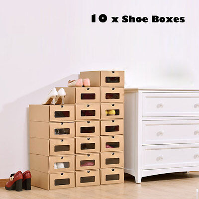 10xFoldable Cardboard Shoe Boxes Organiser Drawer Stackable Storage New Arrival