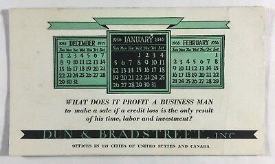 Vintage Dun & Bradstreet Calendar Advertising Ink Blotter Dec 1935 to Feb 1936