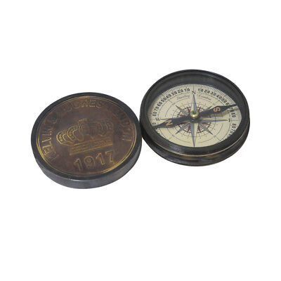 Robert Frost 1917 Poem Engraved London Compass Old Marine Antique Brass Compass
