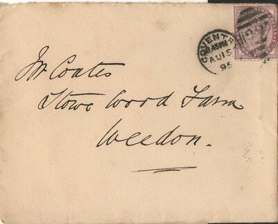 Coventry Duplex on cover to Weedon with  single ring arrival on revers 1895