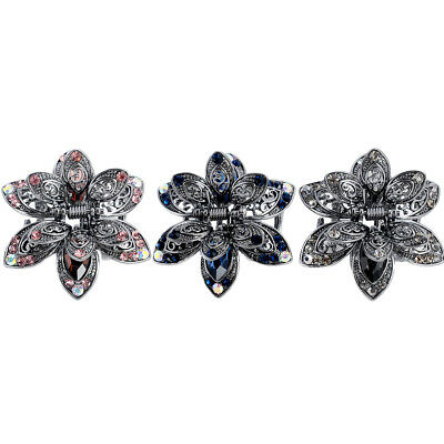 Vintage Flower Crystal Hair Claws Clip Rhinestone Hairpin Hair Jewelry Charm