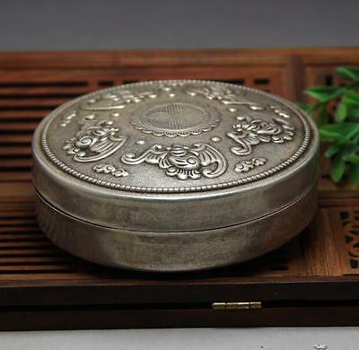 Collect old chinese tibet silver Bat People lucky statue Box Boxes