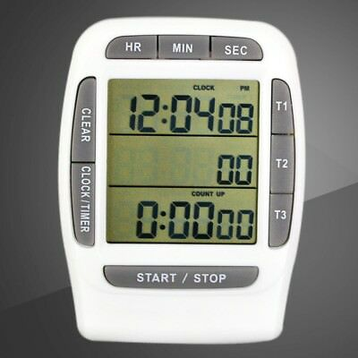 3 Channel Portable Digital Large LCD Timer Accurate Timing Laboratory Accessorie