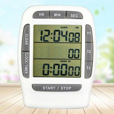 LCD Digital Multi-Channel Timer Clock Countdown Laboratory 3 Channel 99 Hours