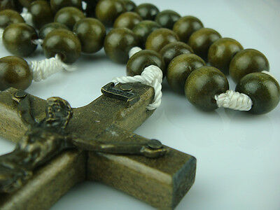 Big Wooden Beads Religious Christian Rosary Necklace With Jesus Wooden Cross