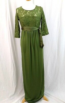 New Maternity Party Dress Green 3/4 Sleeves Size 10 Lace Long Length £130