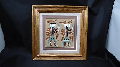 Vintage Authentic Navajo Sand Painting Framed Two Yei Figures Signed JB With COA