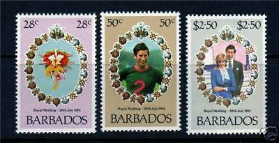 Barbados 1981 Royal Wedding Set Of All 3 Commemorative Stamps Mnh
