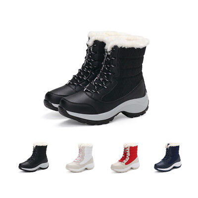 SITAILE Womens Winter Waterproof Snow Ankle Boots Chunky Combat Fur Warm Shoes