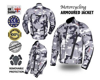 Motorbike Motorcycle Textile Jacket Camo Cordura CE approved Armour Waterproof.