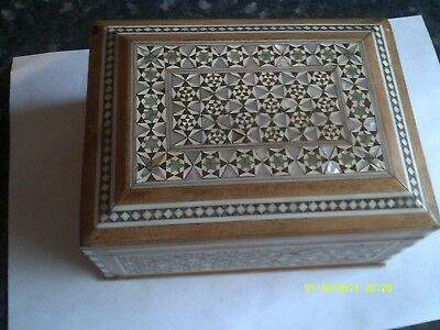 Lovely vintage hinged Wooden box with mother of pearl inlay