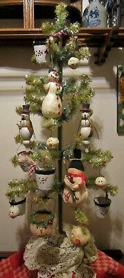 Lot Of 17 Assorted Vintage-Style Snowmen Tree Ornaments ~New ~ Primitive ~ Cute!
