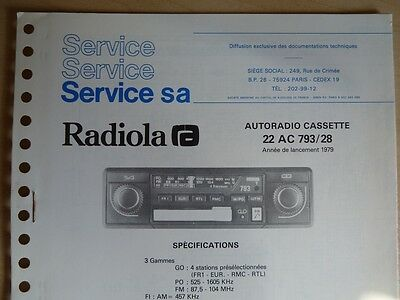 Doc. technique Autoradio Radiola Cassette 22 AC 793 / 28