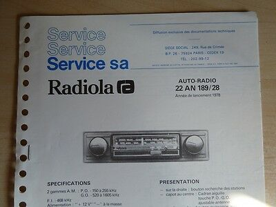 Doc. technique Autoradio Radiola Cassette 22 AN 189 / 28