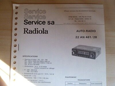 Doc. technique Autoradio Radiola 22 AN 461 / 28 / 88