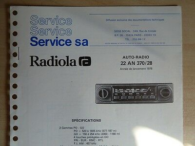 Doc. technique Autoradio Radiola Cassette 22 AN 370 / 28