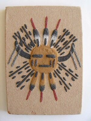 """SIGNED EJM UNFRAMED NATIVE AMERICAN INDIAN NAVAJO """"The Sun""""  SAND PAINTING ART"""