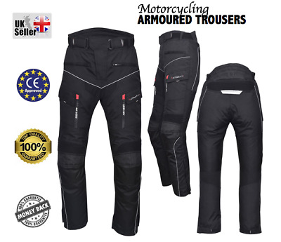 Mens Motorbike Motorcycle Textile Trousers Cordura CE approved Armour Waterproof