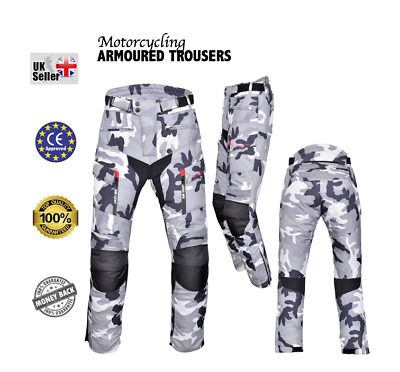 Motorbike Motorcycle Textile CAMO Trousers Cordura CE approved Armour Waterproof