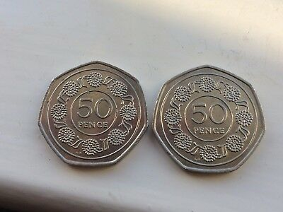 nice lot 2 gibraltar 50p coins 1988 in good condition