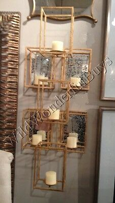 """Geometric 7 Candle Wall Sconce Holders Antique Gold 47"""" Metal Vertical Modern"""