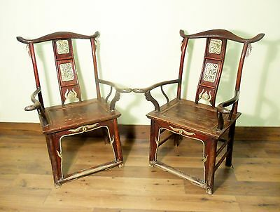 Antique Chinese High Back Chairs (Pair) (5741), Circa 1800-1849