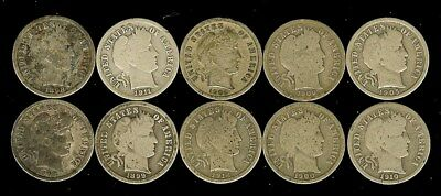 1898-1914 Barber Silver Dimes Nice 10 Coin Collection  Some Better Date!