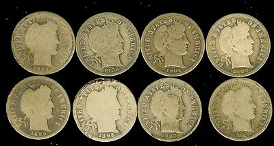 1892-1907 Barber Silver Dimes Nice 8 Coin Collection   Some Better Date!