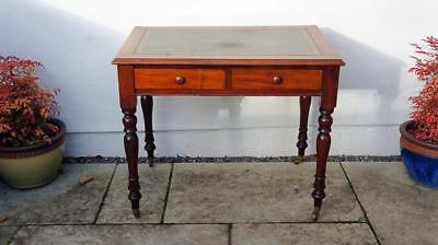 Small early 20th century leather top Mahogany writing table 92 cm x 60 cm
