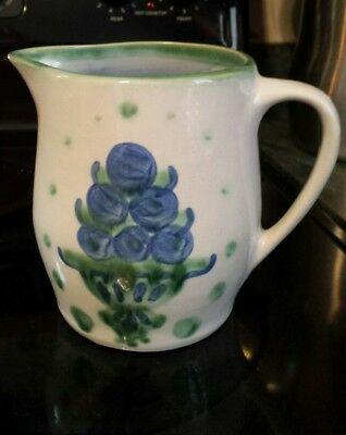 M A HADLEY HANDMADE POTTERY SIGNED PITCHER VASE BLUEBERRY BOUQUET Excellent!