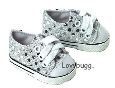 """Lovvbugg Silver Sparkle Sequin Sneakers for 18"""" American Girl Doll Shoes Clothes"""