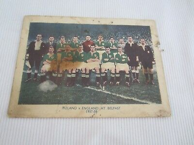 1937-38 IRELAND v ENGLAND TEAM LINE UP  PICTURE APPROX MEASURE 14 CM X 10 CM