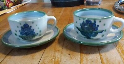 Set Of 2 M.a. Hadley Handmade Pottery Cups And Saucers Blueberry Bouquet