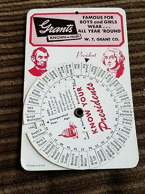 "VTG 60's F.W. GRANTS (5 &10 CENT DIME STORE) ""KNOW YOUR PRESIDENT'S"" SLIDE CHART"