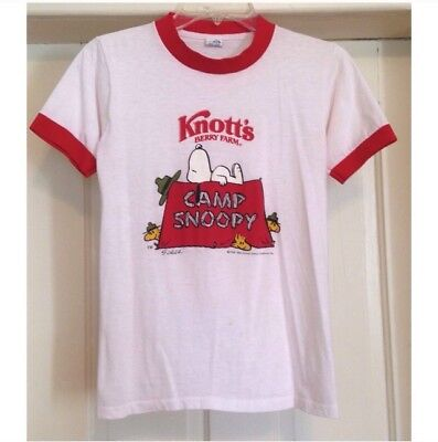 Small True Vintage Camp Snoopy Knott's Berry Farm Ringer T-Shirt - 1970s or 80s