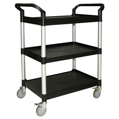 Bus Cart 3-Tier With Casters Black Catering Transport Bins Restaurant Buffet