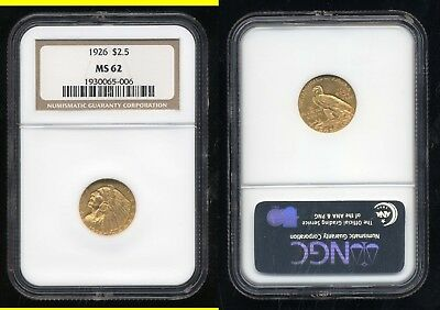 1926 $2.50 Gold Indian- Ngc Ms62- No Reserve
